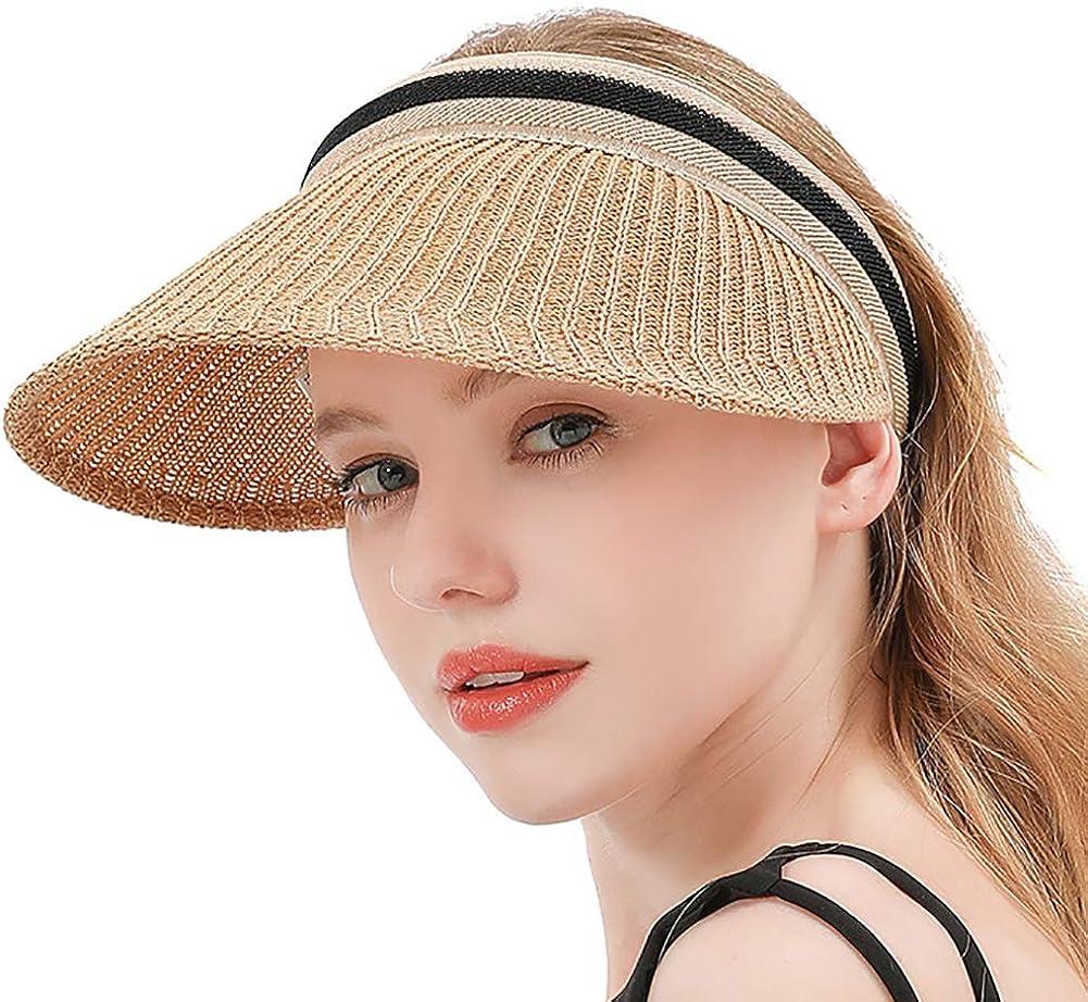 Womens Clip On Sun Visor Cap Summer Beach Hat UV Protection UPF 50+ Sun Hat for Women