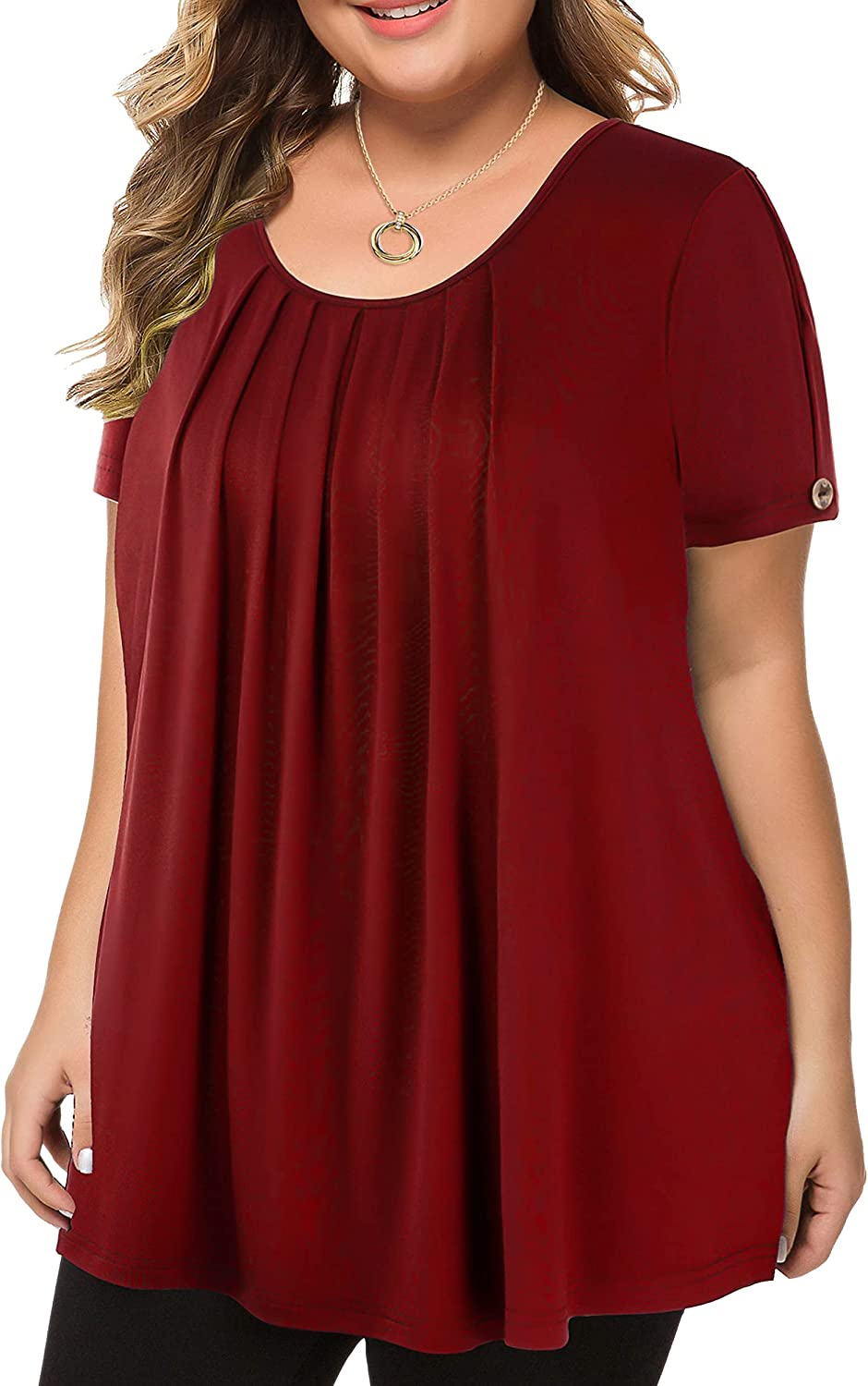 LINJOU Women's Plus Size Tops Short Sleeve Flowy Shirts Casual Blouses Tunic Tops