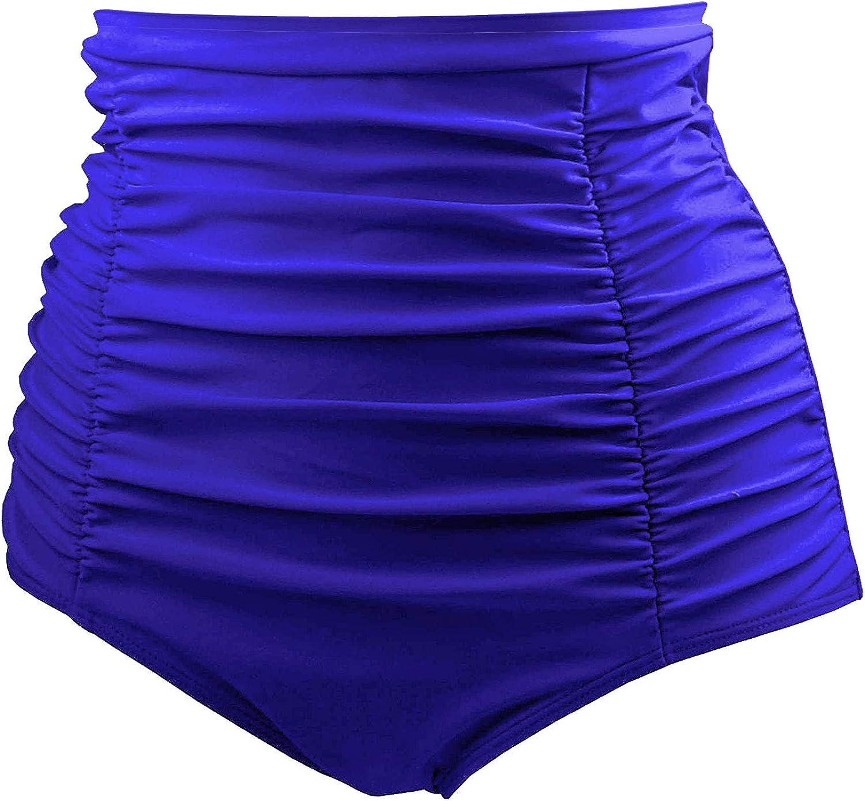 Tempt Me Womens High Waisted Swimsuit Bottom Tummy Control Ruched Bikini Bottom Vintage Swim Shorts Tankini Briefs