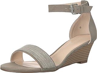 Athena Alexander Women's Enfield Wedge Sandal, Grey Suede, 6 M US