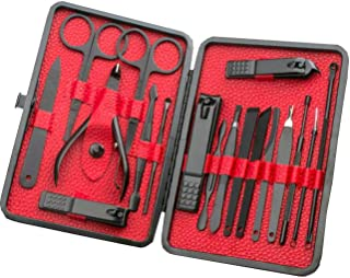 Manicure Set,  18 In 1 Stainless Steel Professional Pedicure Kit Nail Scissors Grooming Kit with Portable Leather Travel Case,  Gifts for Women Men (Black + Red)