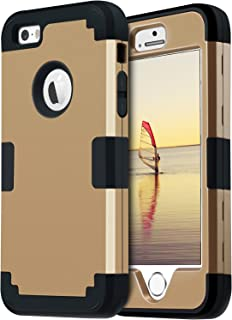 BENTOBEN iPhone SE Case iPhone 5 Case 5S Case 3 in 1 Shockproof Case for iPhone SE 5S 5 Gold/Black