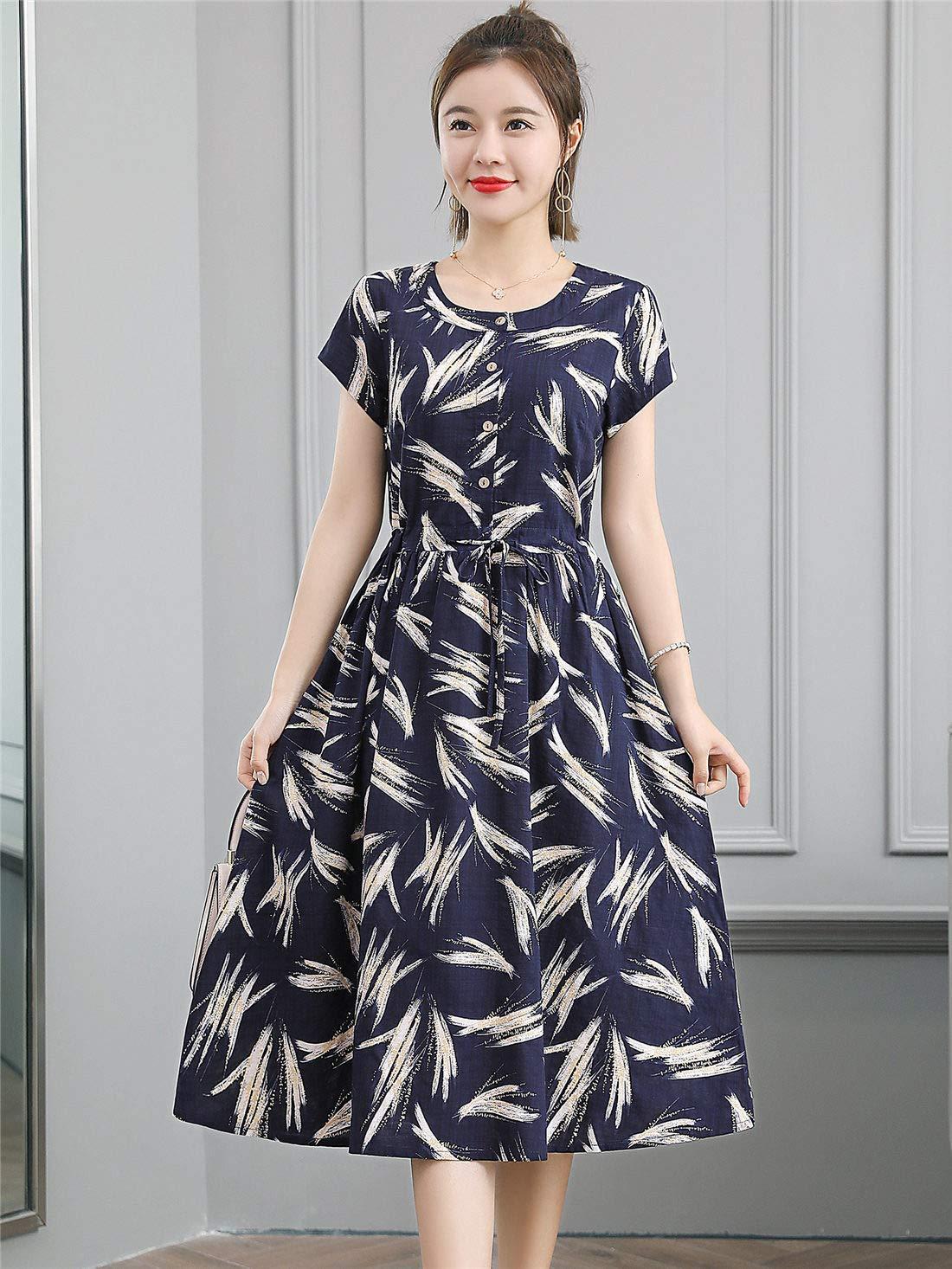 Fanru 梵如 女式夏装新款韩版印花棉麻连衣裙女短袖气质学院风裙子 7B18-ZH1X