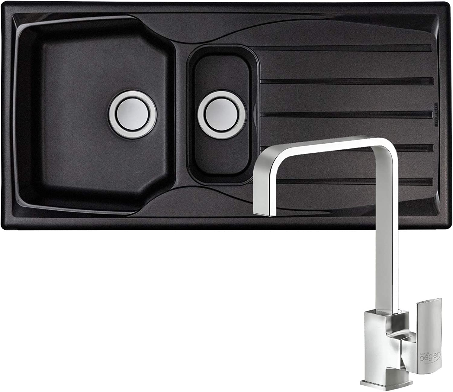 Astracast Sierra 1.5 Bowl Black Kitchen Sink & Reginox Astoria Chrome Mixer Tap