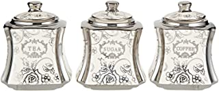 Harmony Silver Rose Pattern Canister - 3 Pieces