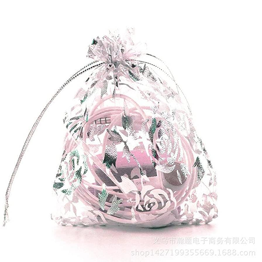 Zhiheng 100pcs Organza Wedding Party Gift Bags Rose Pattern Sheer Drawstring Pouches Jewelry Gift Bags Christmas Party Gift Favor Bags (white-silver, 4