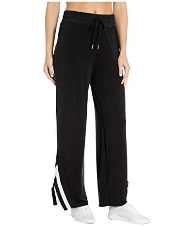 Splendid Studio Cupro Wide Pants with Rib Trim (Black) Women