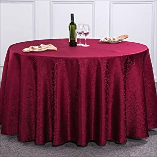 DIT Hotel Wedding Party Tablecloth Restaurant Polyester Table Cover Round Wipe Clean Tablecloths (Color : Wine red, Size : 200cm)