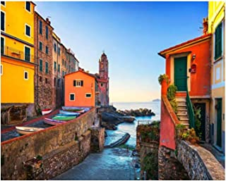 Paint By Numbers tellaro sea village street church and boats cinque terre ligu Digital Coloring Oil Painting Canvas With I...