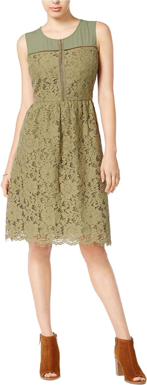 Maison Jules Womens Lace Fit & Flare Dress