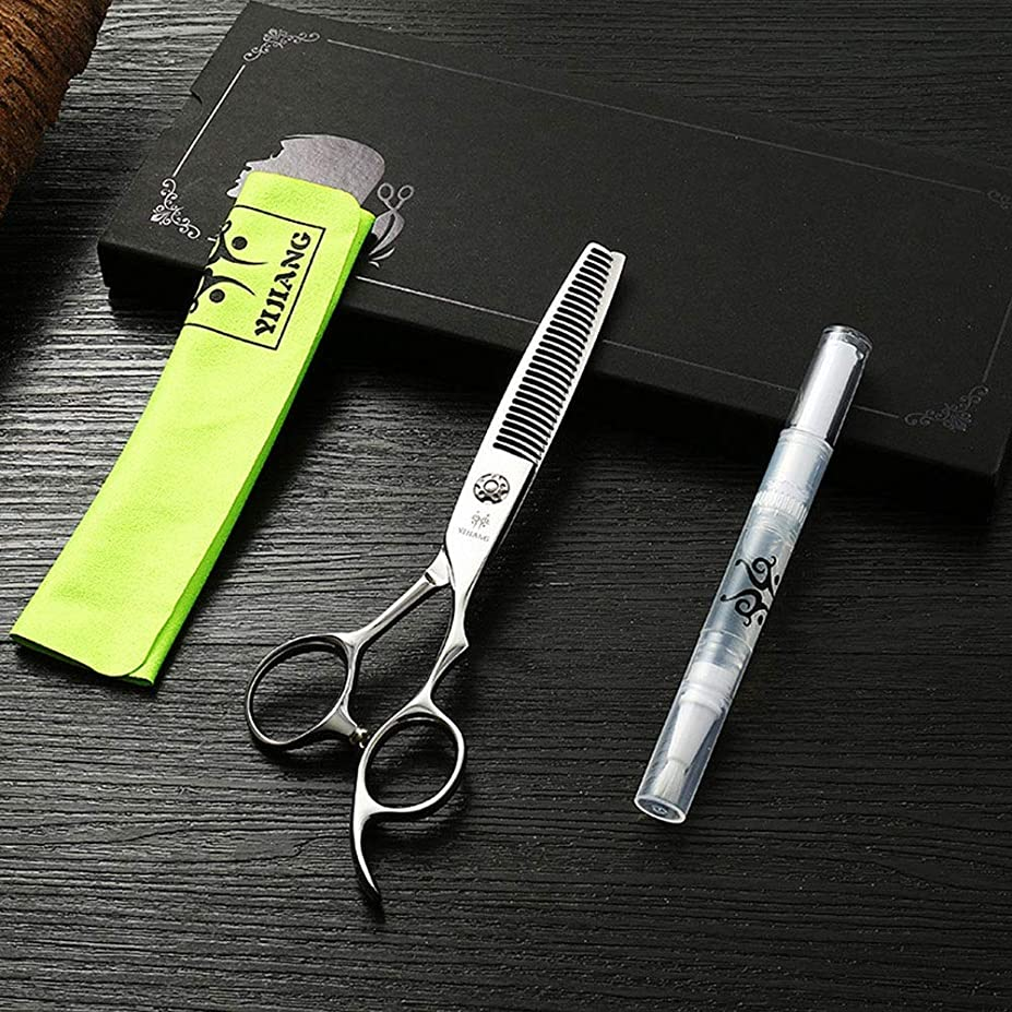 広告主巻き戻す連続した理髪用はさみ 6インチのヘアカットはさみ、ハイエンドのヘアスタイリスト440 C特別な髪のはさみ髪の切断はさみステンレス理髪はさみ (色 : Silver)
