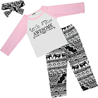 Baby Girl Outfits Set Letter Long Sleeve Tops T-Shirt and Pants with Headband 0-5Y