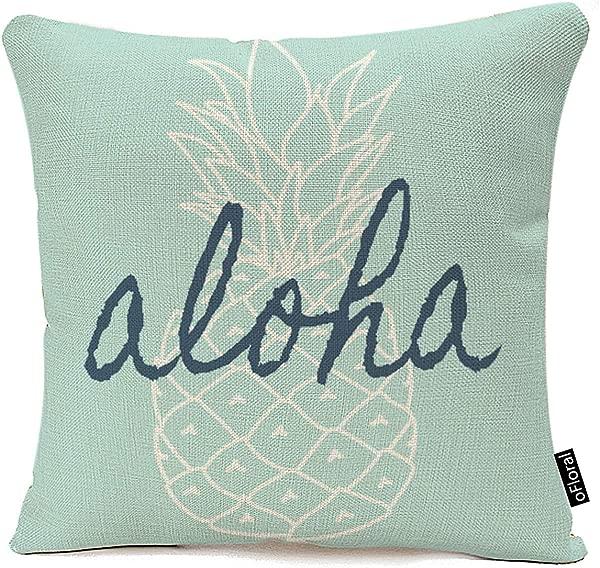 OFloral 抱枕套可爱女孩阿罗哈菠萝图案枕套棉麻 18x18 英寸方带隐藏式拉链家居沙发垫装饰枕套