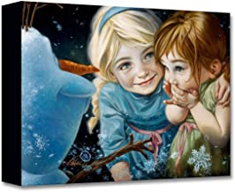 Disney Fine Art Never Let It Go by Heather Theurer Treasures on Canvas Frozen Elsa Anna Olaf 12 Inches x 16 Inches Reproduction Gallery Wrapped Canvas Wall Art