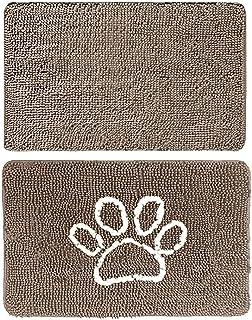Gorilla Grip Original Indoor Durable Chenille Doormats, 30x20 Beige and 24x17 Paw Beige Ivory, 2 Item Bundle