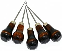 M-W Pack of 5 Gourd Shape Leather Craft Cloth Wood Handle Scratch Awl Tool Pin Punching