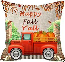 ITFRO Sister Gift Hello Fall Autumn Blessings Happy Fall Yall Garden Truck Maple Leaves Pumpkins Waist Body Cotton Linen Throw Pillow Case Cushion Cover Couch Sofa Decorative Square 18x18 inches