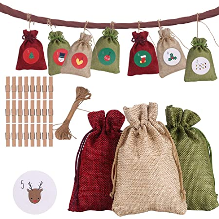 Countdown Advent Calendar Gift Bags Colorful Linen Burlap Fabric Gift Bags Birthday 24 Day Burlap Bag Hanging Jute Drawstring Pouch with Number Sticks for Christmas Party