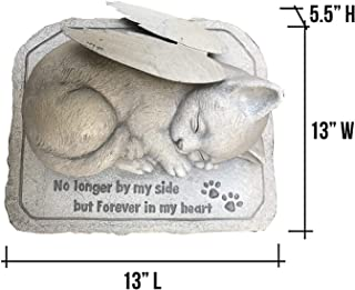 CT DISCOUNT STORE Cat Memorial Stone Cold Cast Ceramic Memorial Garden Backyard (Angel Cat with Wing)