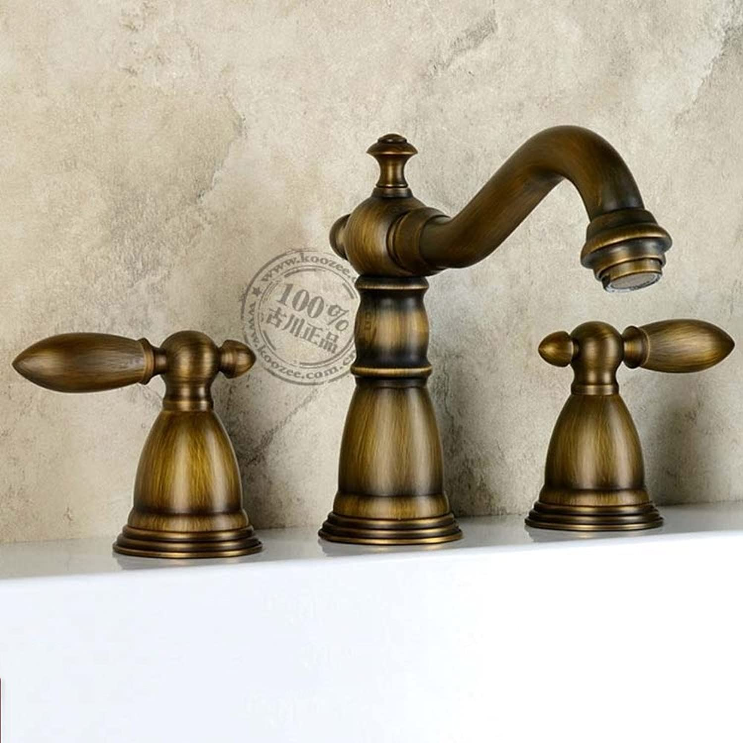 Bathroom sink taps Retro pure copper continental double handles -A