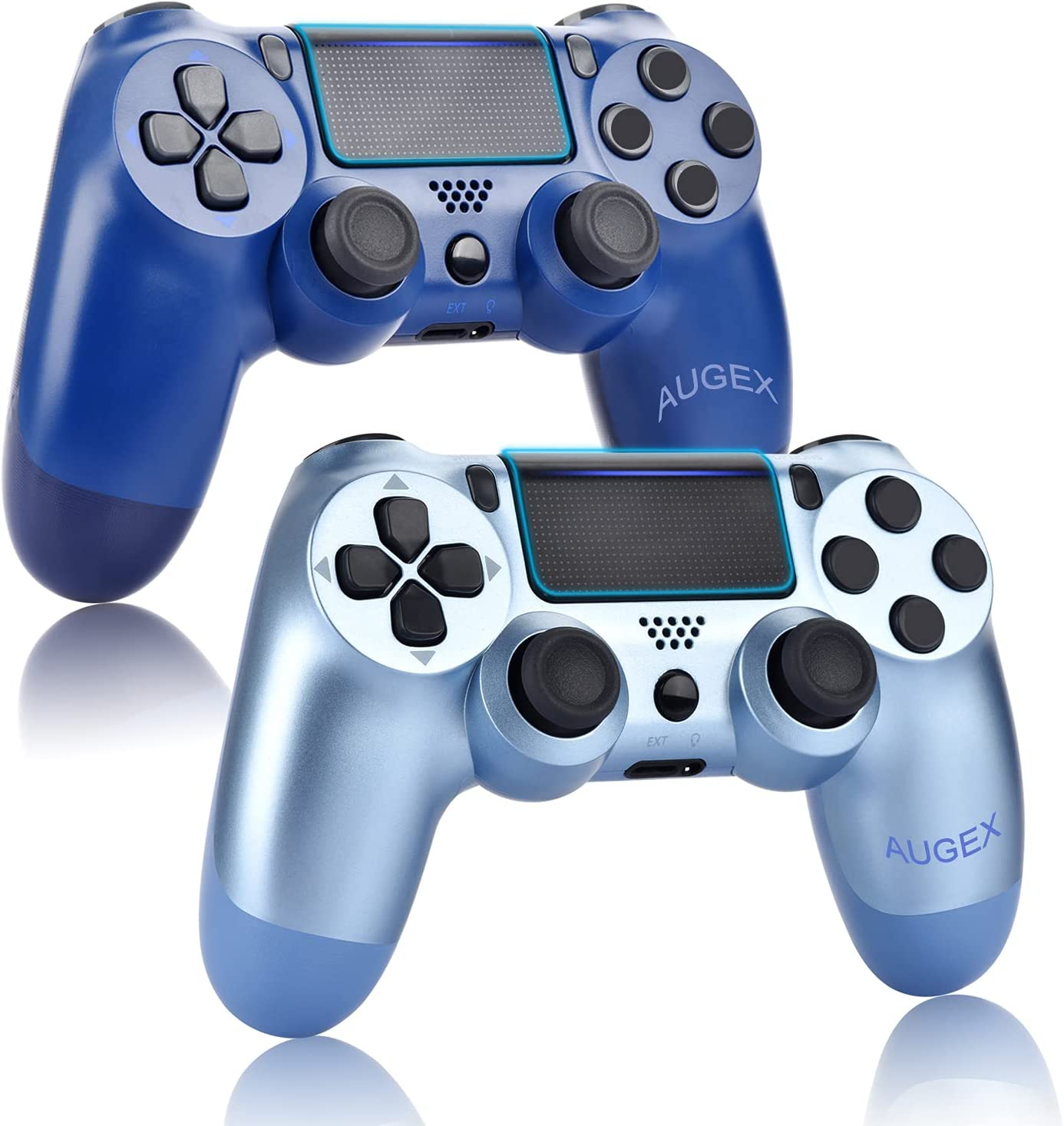 AUGEX 2 Pack Game Controllers Compatible for PS4,Wireless Controller Work with Playstation 4 Console;AUGEX Remote Control with Two Motors Game Joystick(Midnight Blue)