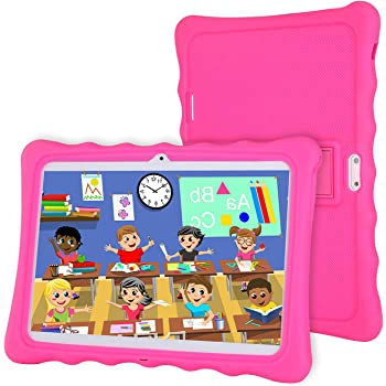 Tablet 10 inch,LAMZIEN Kids Tablet,Android 8.1 Quad-Core 1.8Ghz 2GB RAM 32GB Storage 1280x800 IPS Display 3G Dual-SIM Kids Software Pre-Installed,Pink