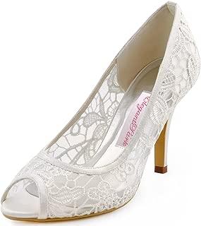 ElegantPark Women Ivory High Heel Pumps Peep Toe Lace Bridal Wedding Shoes