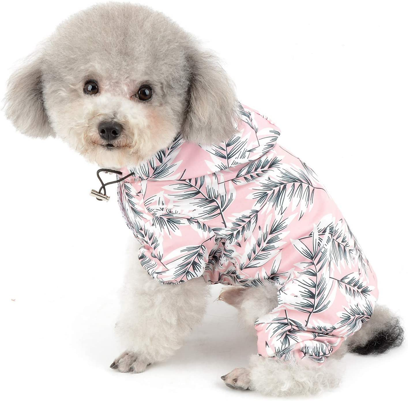SMALLLEE/_LUCKY/_STORE Soft Floral Hooded Rain Coat for Small Dog Waterproof Rain Jacket Pet Sun Protection Clothing Toy Breed Dog Rain Gear,Small,Blue