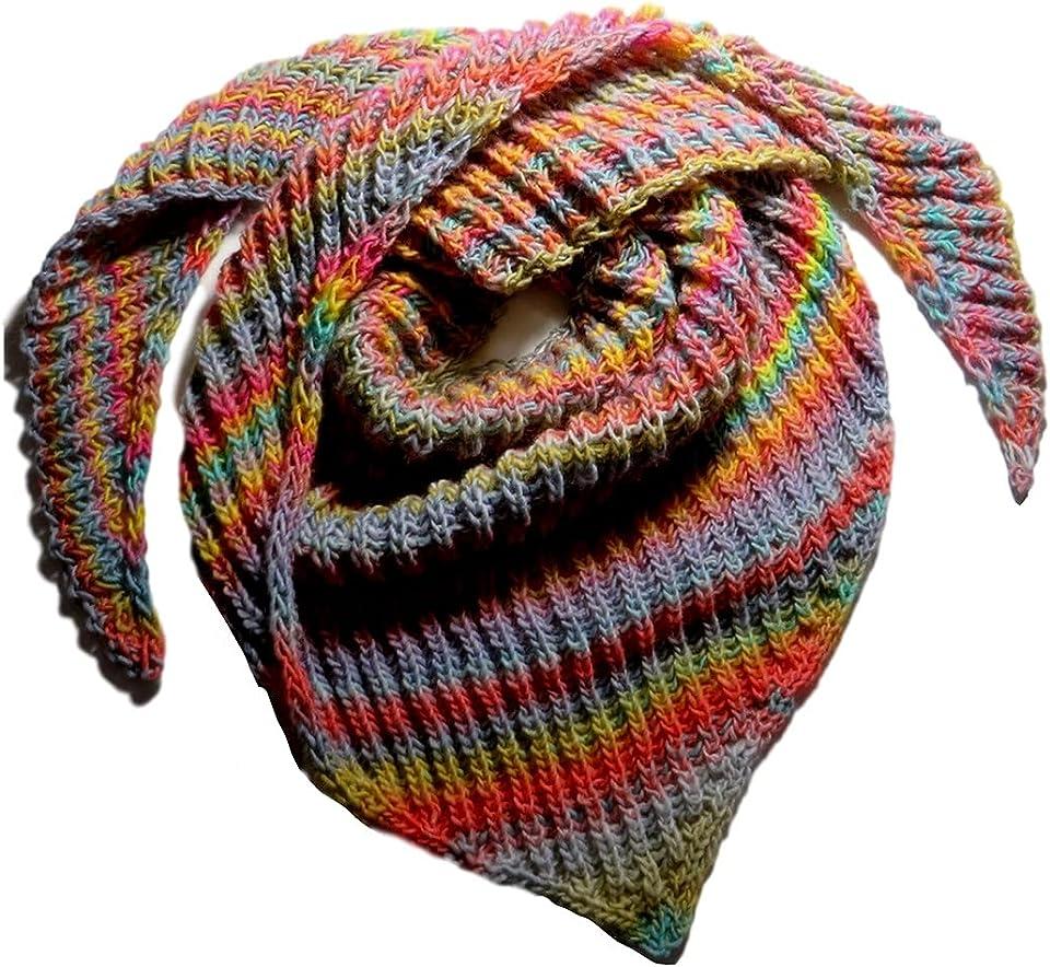 Dreieckstuch handgestrickt Pastellfarben Patentmuster Lana Grossa Basis 190 cm