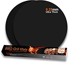 GEEKHOM Round Grill Mats, Non Stick BBQ Grilling Mat, Heavy Duty Reusable Baking Cooking Tools, Heat Resistant Barbecue Accessories for Outdoor Gas Charcoal Electric Grills -Set of 2, Black