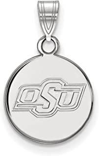925 Sterling Silver Rhodium-plated Laser-cut University of Oklahoma Small Disc Pendant