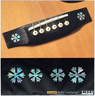 Inlay Stickers for Acoustic Guitar Bridge - Snowflakes (4pcs Set) - Abalone Mix