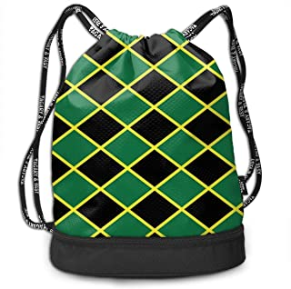 Jamaican Flag Stripe Caribbean Island Design Drawstring Sack Swim Sport Cinch Sackpack Large Capacity Beam Backpack, Home Travel Storage Use Gift For Men & Women, Girls Boys