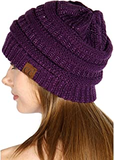 Oversized Solid&Two Tone Thick Knit Beanie hat
