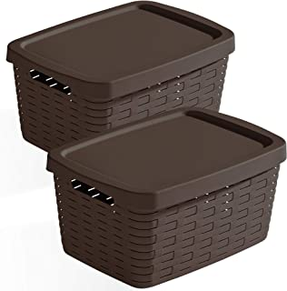 Use Family Lot de 2 paniers de rangement en plastique 54 x 38 x 25 cm Wengé, 35 L
