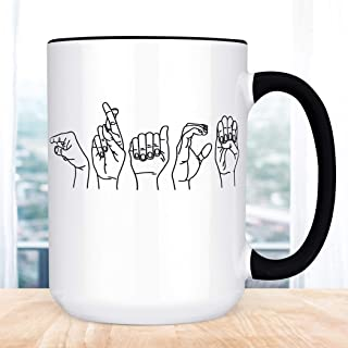 Customized ASL Name Coffee Mug Sign Language Fingerspelling Personalized Cup
