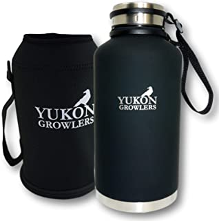 Yukon Growlers Insulated Beer Growler - Keep Your Beer Cold and Carbonated for 24 Hours - Stainless Steel Vacuum Water Bottle with Carrying Case Also Keeps Coffee Hot - Improved Lid – 64 oz