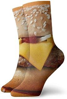 Cheeseburger Hombres Mujeres Calcetines cortos 30cm Calcetines clásicos de algodón para yoga Senderismo Ciclismo Correr Fútbol Deportes