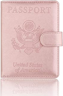 Passport Holder Cover - RFID Blocking Leather Passport Case Travel Wallet for 4 Cards, Ticket, Cash, Passport by Talent (Rose Gold-Clasp)