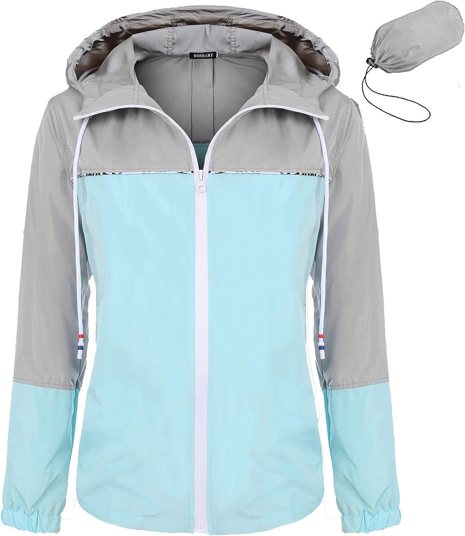 Bosbary Women's Raincoats Waterproof Packable Windbreaker Active Outdoor Hooded Lightweight Rain Jacket SXXL