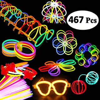 BUDI 200 Glow Sticks 467Pcs Glow Party Favors for Kids/Adults: 200 Glowsticks Party Packs..