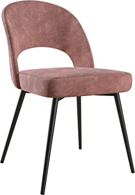 CosmoLiving by Cosmopolitan CosmoLiving Alexi Upholstered Dining, Dark Blush Pink Velvet Chair