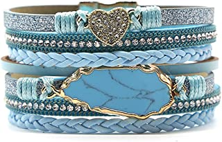 Multi-Layer Leather Wrap Cuff Bracelet Bohemian Multi Strands Wrap Bangle Handmade Wristbands Jewelry with Alloy Magnetic Clasp for Teen Girls Women with Party Gift Box