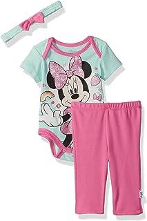 Disney - Conjunto de 3 Piezas de Bodysuit, pantalón y Diadema para niña de Minnie Mouse