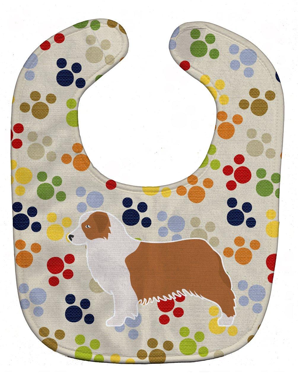 Caroline's Treasures BB6338BIB Australian Shepherd Dog Pawprints Baby Bib, 10 x 13