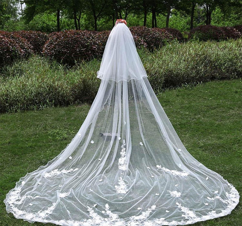 ALL-U Wedding Veil 3M3M Long Lace Handmade Flowers Bridal Veil Wedding Accessary Woman Decoration