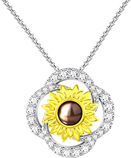 You Are My Sunshine Necklace 100 Languages I Love You Yellow Gold Plated Sunflower Pendant Necklacefor Women