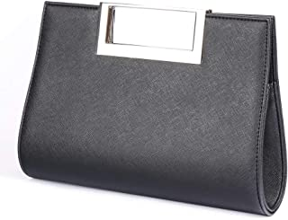 WALLYN'S Clutch Purse for Women Evening Party Metal Grip Cut it out Handbag with Shoulder Chain Strap