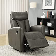 Monarch Specialties Recliner Chair - Single Leather Sofa Home Theatre Seating - Rocker Recliner, Swivel and Glide Base (Charcoal Gray)