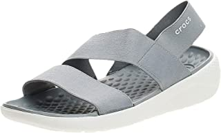 Crocs LiteRide Stretch Sandal W Women's Sandals, Light Grey/White, 6 US